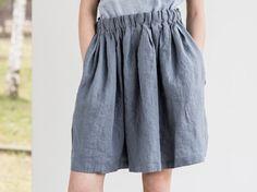 Falda lino cómoda con cintura elástica ancha por notPERFECTLINEN