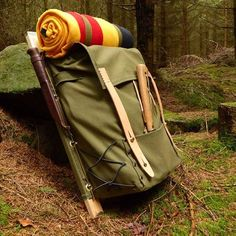 Trapper Nelson pack frame with a canvas pack and wool blanket