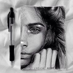 Portrait of @caradelevingne  Ballpoint pen and white pen #caradelevigne #art#pendrawing