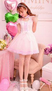 Japanese sweet lace lilac fairy dress