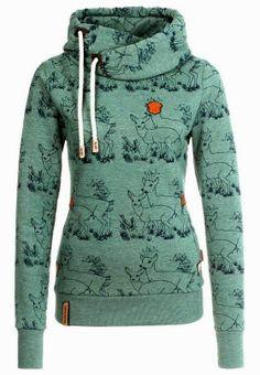 Cute  Comfy Long Sleeves Deer Print Hoodie