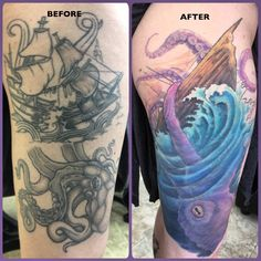 A before and after of the cover up tattoo of a pirate ship and sea monster. Colorful, feminine thigh tattoo