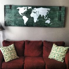 Old barn door + world map + white paint = new art (made by Tyler Knott) Map Painting, Pallet Painting, Old Barn Doors, Reclaimed Doors, Painted Doors, White Paints, Decoration, New Art, Architecture