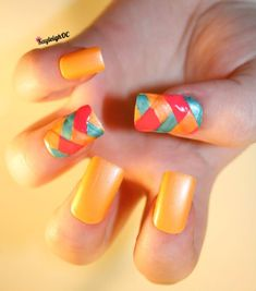 Summery coloured, braided nails :)