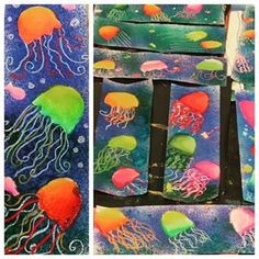 This 3rd grade project was created in the same way we did our planets in an earlier post. Day 1 - cut body shapes out of printer paper and draw legs and bubbles with white crayon. Spray with liquid watercolors and remove body shapes to reveal white paper underneath. Day 2 - Use chalk pastel to shade bodies and add more legs. #watercolor #pastel #chalk #mixedmedia #artclass #3rdgrade #jellyfish #art #artwork #artteacher #artteachersofinstagram #artsed #arteducation #elementaryart #iteachart