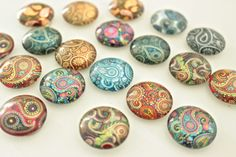 20mm Paisley Glass Magnet Set Round Marble by fluteofthehour