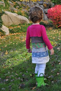 love that she stamped some of the tshirts.  The sample shirts/dresses are even cuter in her ruffled leggings post.  I thought this would be a good project to use up tshirts and practice sewing knits.