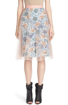 Burberry Pleated Tulle Watercolor Rose Skirt available at #Nordstrom