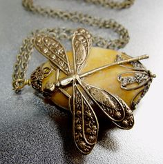 Rustic Dragonfly  Natural Stone Antique Brass by IslandGirlDesigns, $30.00
