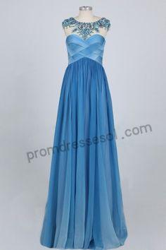 Blue Backless Tencel Princess Bridesmaid Dress BY056
