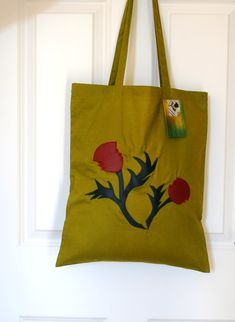 Scottish Thistle, Scottish Tartans, Handmade Shop, Etsy Handmade, Floral Tote Bags, Scottish Gifts, Reusable Bags, Natural Leather, Mother Day Gifts