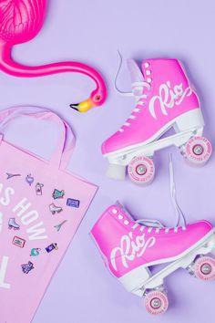 Colourful product photography and styling for Punky Pins by Marianne Taylor. Roller Derby, Roller Skating, Roller Skate Shoes, Pastel Wallpaper, Vaporwave, Pink Aesthetic, Pretty In Pink, Barbie, Branding