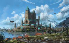 Artist: FrankAtt  -  The Northern Administration  -  http://frankatt.deviantart.com/  -  http://www.cruzine.com/2013/07/22/fantasy-worlds-frank-att/  -  http://www.geeknative.com/51079/floating-cities-wonderful-creations-frank-att/  -  #FrankAtt