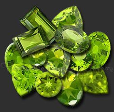 "August's birthstone - Interesting Fact: Legend says that peridot was one of the favorite gemstones of Cleopatra and that some of the ""emeralds"" worn by her were actually peridot."
