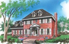 Adam - Federal House Plan with 1855 Square Feet and 3 Bedrooms from Dream Home Source | House Plan Code DHSW41839