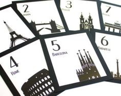 Travel Wedding Table Numbers International Customize World Globetrotter Cities Landmarks Bar Mitzvah Special Event