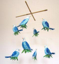 Mobile - Birds - Handmade - hanging mobile for babies and children - crib mobile - nursery... $40