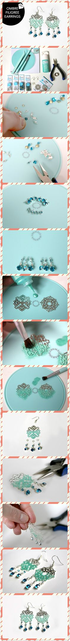 DIY OMBRE FILIGREE EARRINGS diy crafts home made easy crafts craft idea crafts…