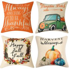 Anickal Set of 4 Fall Pillow Covers Harvest Blessings Pumpkin Patch Autumn Theme Farmhouse Decorative Throw Pillow Covers Inch for Sofa Couch Decor Plaid Throw Pillows, Fall Pillows, Orange Pillows, Farmhouse Decorative Pillows, Decorative Pillow Covers, Decorative Throw Pillows, Yellow Pillow Covers, Diy Pillow Covers, Autumn Decorating