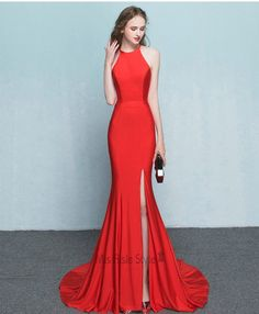 Sexy Mermaid Halter Neckline Slit Red Prom Dress 2017 http://amzn.to/2rWjyr9 http://amzn.to/2rWsoF9