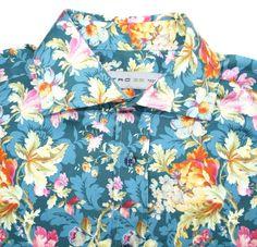 Etro Milano GORGEOUS bright spring floral print cotton blend shirt EU 39 Small #Etro