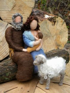 Nativity Set- Needle felted Mary Nursing Baby Mantle Sitters. $79.00, via Etsy.