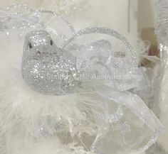 Set of 4 Shabby Feather Holiday Christmas Silver Sparkle Glitter Bird Ornaments