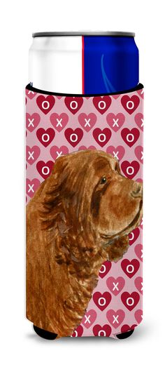 Sussex Spaniel Hearts Love Valentine's Day Ultra Beverage Insulators for slim cans SS4510MUK