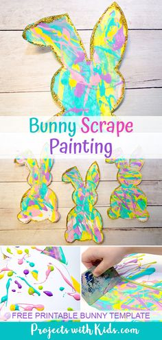 Use beautiful spring colors to make these bunny silhouettes that are the perfect art project for spring or Easter. A great project for preschool aged kids and beyond. Free printable bunny template inc Spring Arts And Crafts, Easter Arts And Crafts, Spring Art Projects, Bunny Crafts, Projects For Kids, Art Project For Kids, Scrape Painting, Bunny Painting, Dot Painting