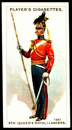 """Player's Cigarettes """"Regimental Uniforms, Second Series"""" (issued in (Queen's Royal) Lancers ~ 1831 British Army Uniform, British Uniforms, British Soldier, British Armed Forces, Dancing King, Collector Cards, French Army, Military Art, Football Cards"""