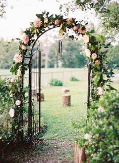 Secret garden inspired ceremony arch: www. Aisle Style, Ceremony Arch, Wedding Ceremony, Wedding Gate, Reception Entrance, Wedding Arches, Garden Gates, Garden Archway, Flower Archway