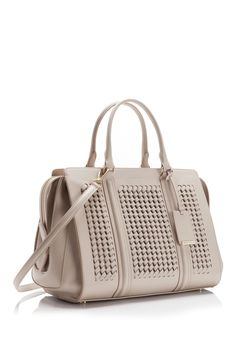 "Love the intricate handwork on this new ""Berlin"" bag grom Hugo Boss. Calfskin leather woven handbag with detachable shoulder strap in gray. $1595. Perfect for Spring."