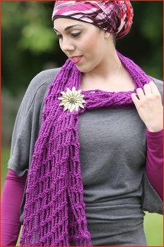 Simply Angled Scarf Shawl Sarong Fashion Brooch Neck by YARNutopia