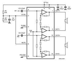 TDA7266 7 W + 7 W dual bridge amplifier ...