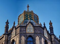 Roof of the museum of Applied Art, Budapest, Hungary.  tiles by Zsolnay porcelain factory