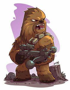 Chewie - Chibi Star Wars Characters by Derek Laufman Star Wars Fan Art, Chibi Characters, Star Wars Characters, Star Wars Karikatur, Star Wars Zeichnungen, Star Wars Cartoon, Star Wars Drawings, Star Wars Wallpaper, Chewbacca