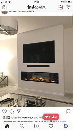 Modern Fireplace Decor, Living Room Decor Fireplace, Fireplace Tv Wall, Fireplace Built Ins, Fireplace Remodel, Feature Wall Living Room, Living Room Wall Units, Open Plan Kitchen Living Room, Home Living Room
