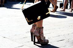 Thank god it's Monday: sky high Mens Fashion Week, Nyc Fashion, Fashion 101, Fashion Shoes, Street Style Shoes, Black N Yellow, Michael Kors Jet Set, Style Me, Purse