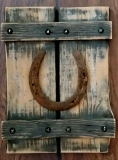 Fence Barn Wood Rusty Horseshoe Original Rustic Western Ranch Home Decor 9 x 12 - Wood Working Four