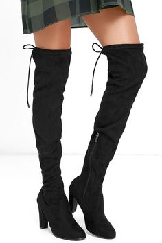"""Get the look all the fashionistas are after with the Stunning Steps Black Suede Over the Knee Boots! These soft vegan suede boots have an almond toe, and 26"""" over-the-knee shaft. Collar has a 15"""" circumference and ties at back with vegan suede laces. 9.5"""" zipper at the instep."""