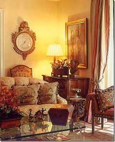 Atlanta designer Carole Weaks uses a large French barometer in her own home. I love the combination that Weaks is known for - antiques, textured fabrics, and contemporary art. It is a beautiful combination.