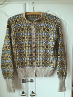 Hand Knitted Vintage Fair Isle Cardigan Size 10/12