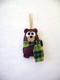 Felt Christmas Ornament - Willis the Baby Brown Bear. $9.50, via Etsy.