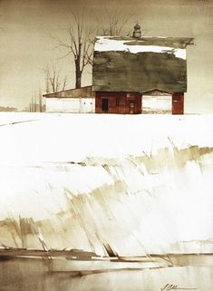 "2005, Red Barn In Winter by Joseph Alleman Watercolor ~ 30"" x 22"""