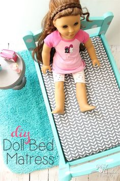 This is a great diy showing how to make a Doll Bed Mattress that is sized to fit any size bed. It's an easy and inexpensive fun sewing project for the kids or adults. #RealCoake #RealCrafts #Sewing #Pattern #AGDoll #AmericanGirlDoll #Doll #Crafts #DollCrafts #DIY #CraftProjects