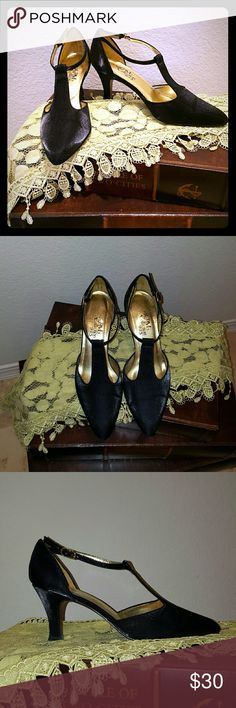 Black Satin Shoes The perfect shoes for that LBD. They are a rich, dark black with a satiny sheen. Worn only twice and in excellent condition. Shoes Heels
