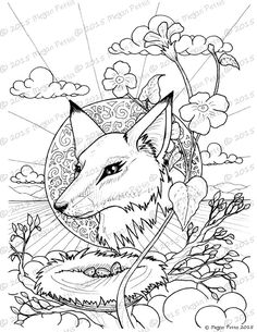 Portrait Of A Fox Adult Coloring Book Page Instant Download Digital File Print At Home Nature And Fantasy Themed Ornate Art
