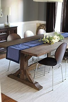 big, warm wood farm table