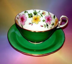 Emerald Green & Floral Border Aynsley Cup & Saucer
