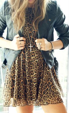 leopard + leather.